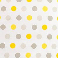Простынь на резинке в детскую коляску, Горошек серый и желтый 80х40см