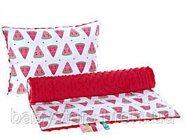 """Комплект в детскую коляску """"Арбузики"""": одеяло 75х78см подушка 30х40см красный"""