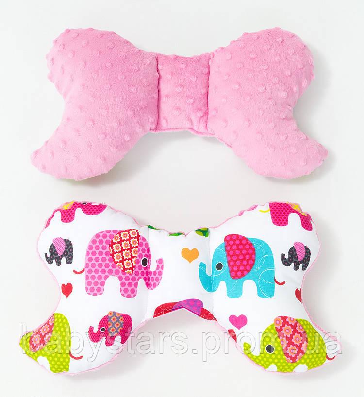 """Детская ортопедическая подушка бабочка для новорожденных 32х24 см, """"Розовые слоники"""" цвет розовый"""