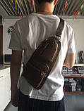 Сумка-рюкзак на одно плечо, кобура, слинг Jeep 1941. Темно-коричневая / J1941 DB Vsem, фото 7