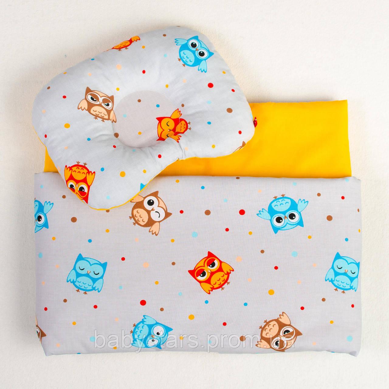 """Детские постельные комплекты в кроватку, три предмета, """"Веселые совы"""" цвет серый с оранжевым"""