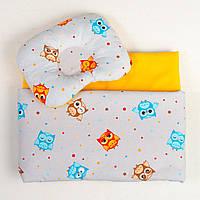 """Постельное белье для колыбели, три предмета, """"Веселые совы"""" цвет серый с оранжевым"""