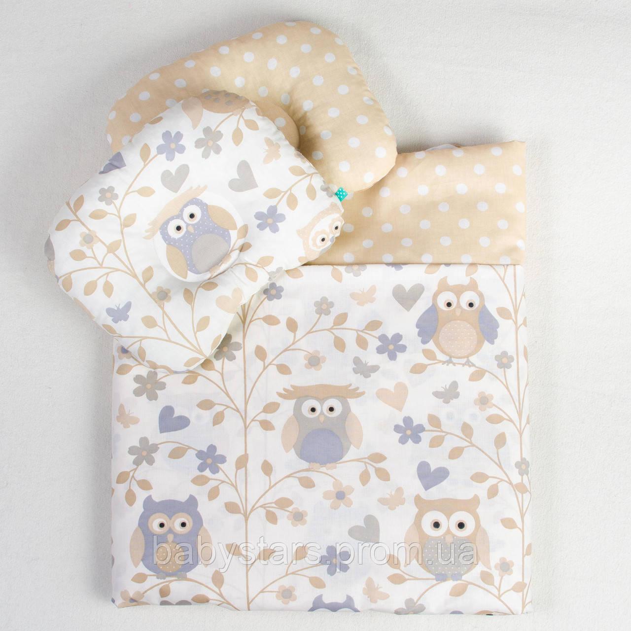 """Постельное детское белье в кроватку новорожденному, три предмета, """"Совуньи"""" цвет бежевый"""