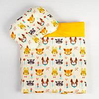 """Детский постельный комплект для новорожденных, три предмета, """"Лесные жители"""" цвет желтый"""