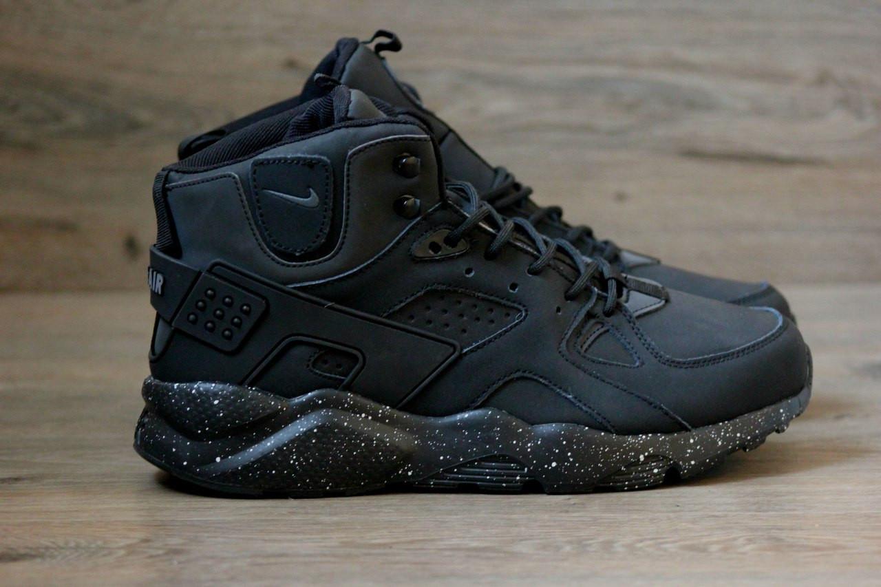 ebeadb6a1 Зимние кроссовки в стиле Nike Air Huarache нубук высокие черные -  Интернет-магазин
