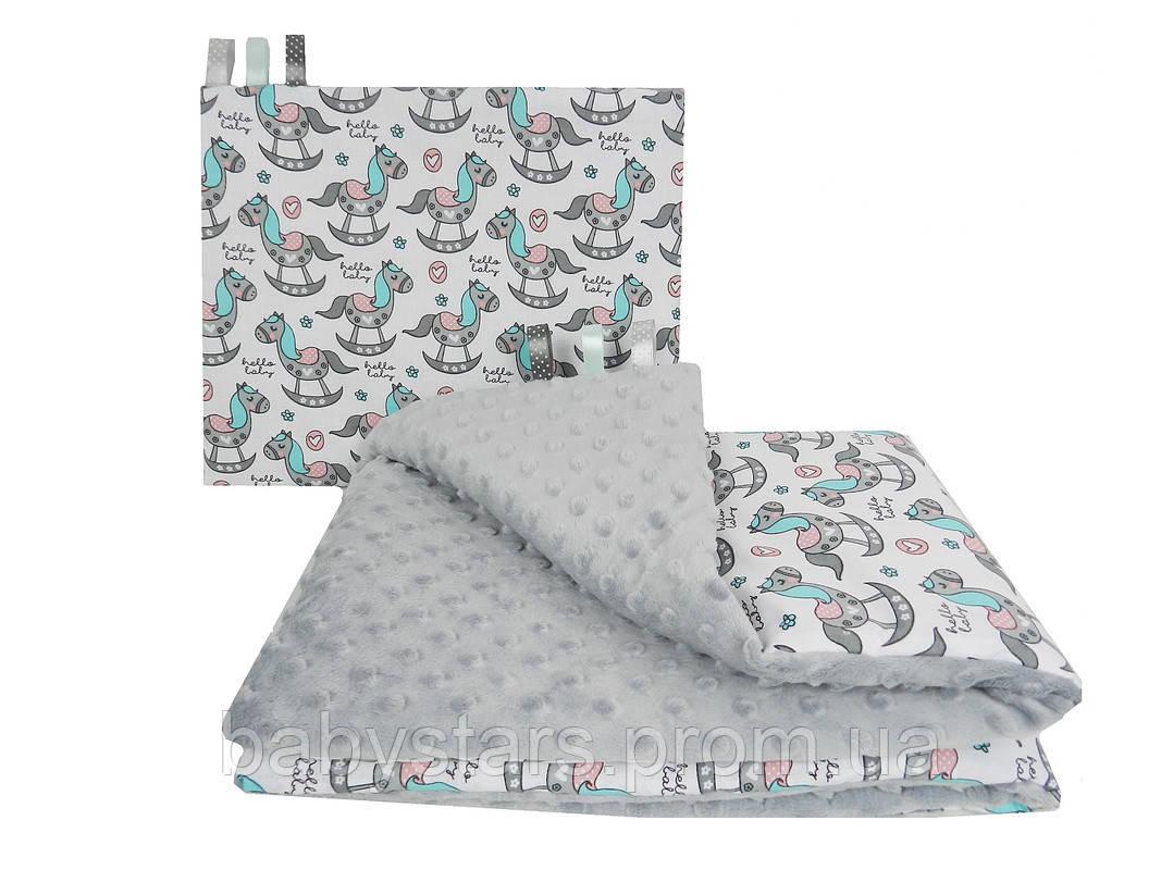 Детские постельные комплекты в кроватку для новорожденных, три предмета, Лошадки на сером плюше