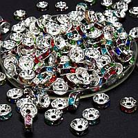 (45-50 штук) Бусины разделители со стразами. D-8мм Цвет серебро + стразы МИКС