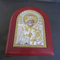 Икона Николай Чудотворец серебряная с позолотой 208 мм х 245 мм.