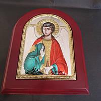 Ангел Хранитель красивая серебряная икона с позолотой