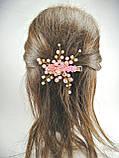 Заколка для волос с хрустальными бусинами розовая, фото 6
