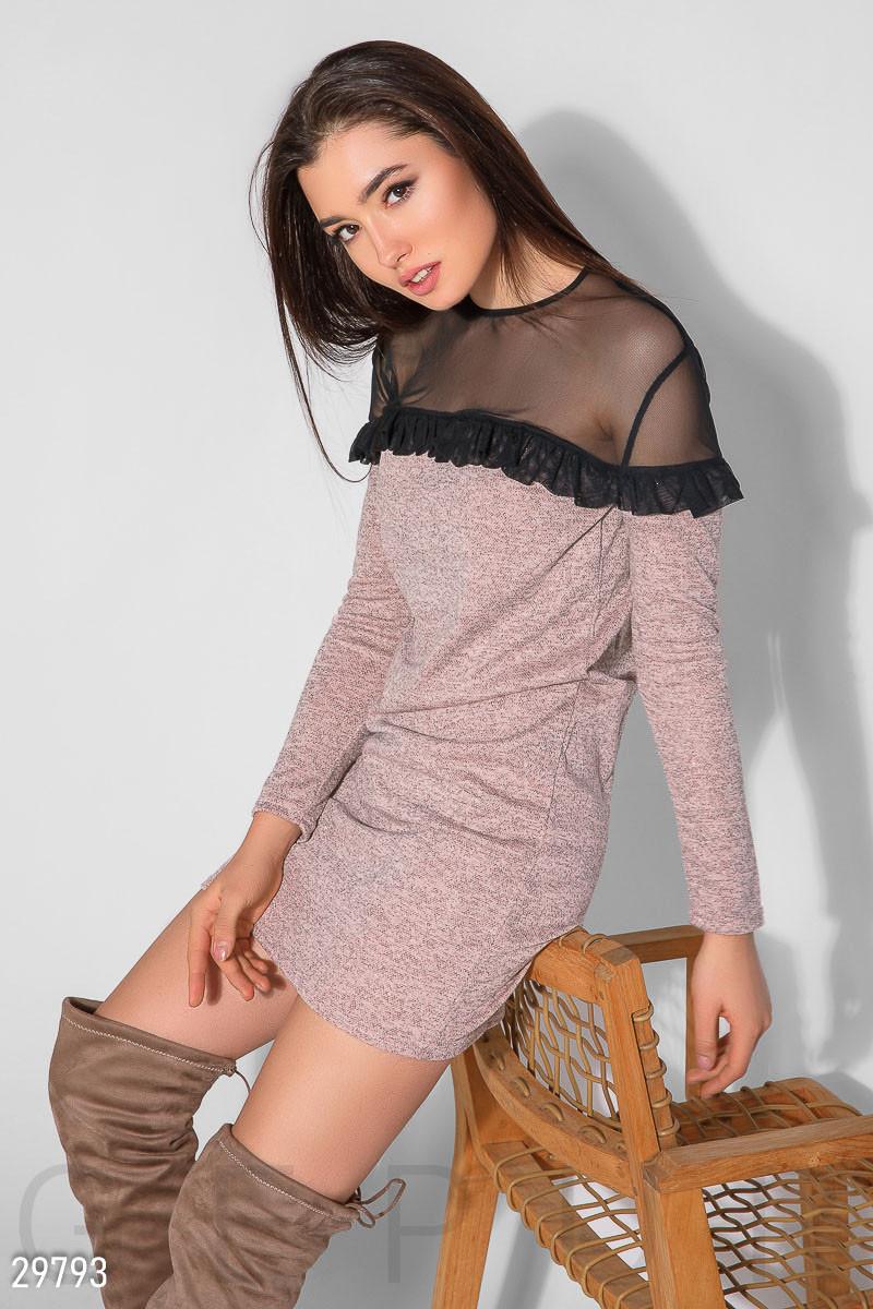 Модное платье мини приталенное рукав длинный сетка с рюшами розовый меланж
