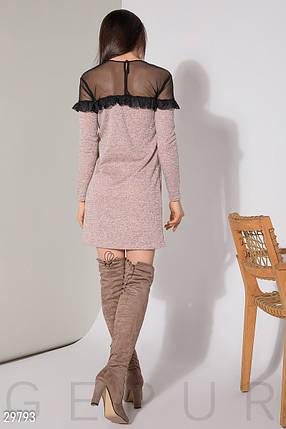 Модное платье мини приталенное рукав длинный сетка с рюшами розовый меланж, фото 2