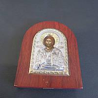 Икона серебряная Спаситель на деревянной основе с позолотой