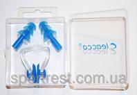 Набор для плавания ( беруши + зажим носа ) в коробочке.