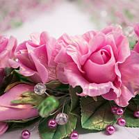 """Украшение из цветов :(колье- ожерелье, бусы)  """"Хрустальная роза"""". Бижутерия ручной работы."""
