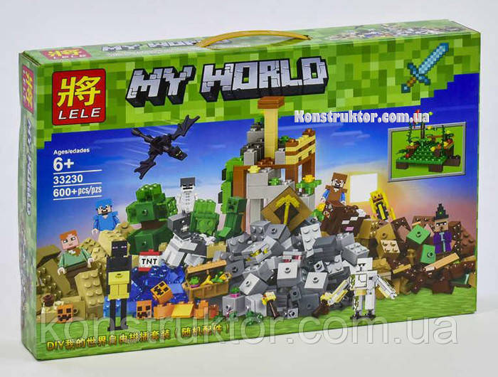 "Конструктор Lele 33230 Майнкрафт ""Падение башни"" аналог Lego Minecraft, 600 деталей."