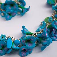 """Комплект, набор украшений: (ожерелье-бусы колье, серьги) """"Голубой лен"""". Бижутерия ручной работы."""
