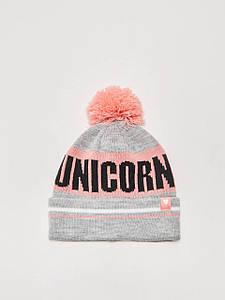 Шапка - House - Серая с помпоном и надписью Unicorn (Зимняя\Зимова шапка)