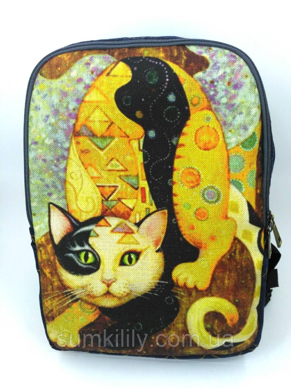 Джинсовый рюкзак Сказочный кот