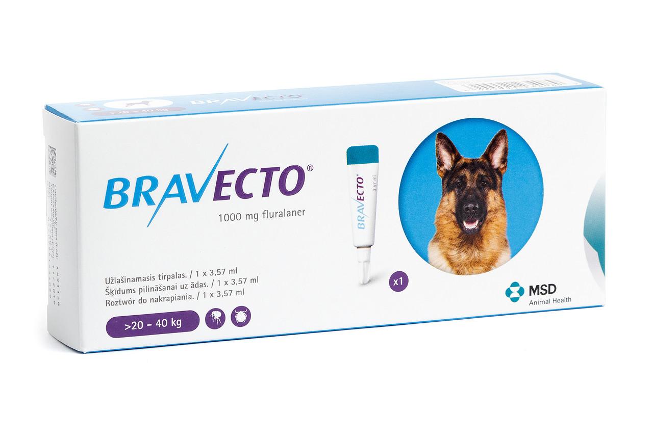 Бравекто Спот-Он (Оригінал Нідерланди) для собак вага більше 20-40 кг 1 піпетка