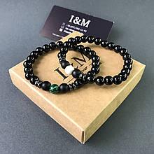 Набір браслетів I&M Craft з агату з шунгита, малахітом і говлитом (141054)