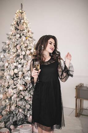 Стильное черное платье с сеточкой, фото 2