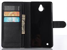 Кожаный чехол книжка для  Nokia Lumia 850 черный, фото 3