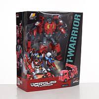 Трансформер J8016В  красный робот с большим оружием и Пожарная машина с краном в коробке