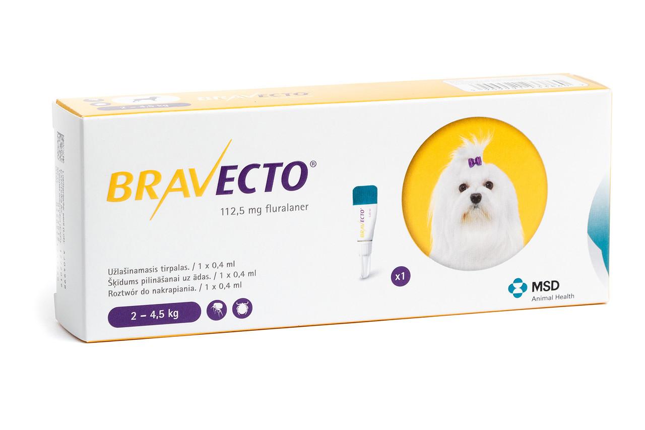 Капли Бравекто Спот - Он (Оригинал Нидерланды) для собак 2,5 - 4 кг