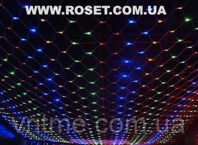 Новогодняя LED гирлянда сетка 1,5х1,2 м (синяя и мульти)