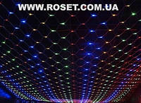 Новогодняя LED гирлянда сетка 1,5х1,2 м (синяя и мульти), фото 1