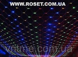 Новогодняя LED гирлянда сетка 120 Led  1,5х1,2 м (Цвет: теплый белый, синий и мульти)