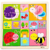 Деревянные пазлы 25 деталей Насекомые Viga Toys