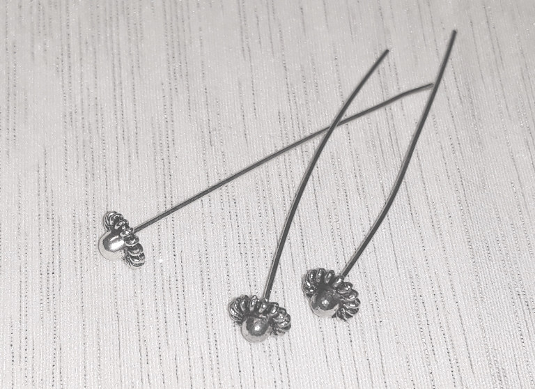 Піни гвоздики з фігурною головкою 5 см срібло античне №5 біжутерні