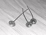 Піни гвоздики з фігурною головкою 5 см срібло античне №5 біжутерні, фото 2