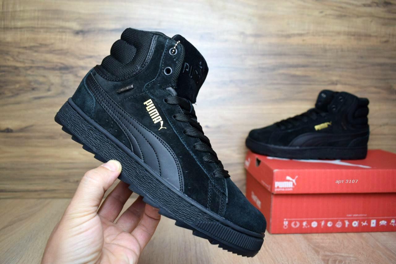 6f3e1123 Зимние женские кроссовки в стиле Puma Suede Mid Black замша мех черные -  Интернет-магазин