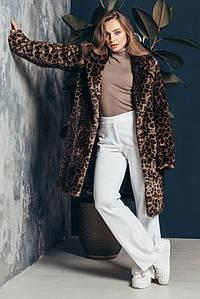 Леопардовая женская шуба с отложным воротником