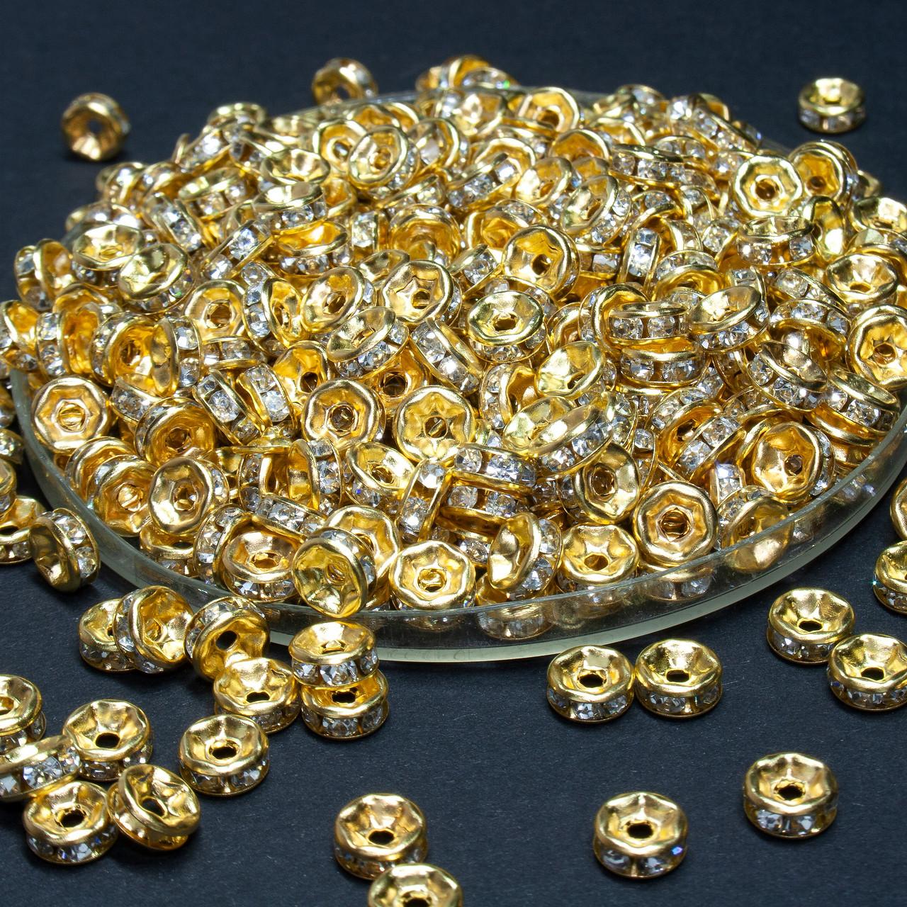 (45-50 штук) Бусины разделители со стразами. D-6мм Цвет золото + стразы прозрачные