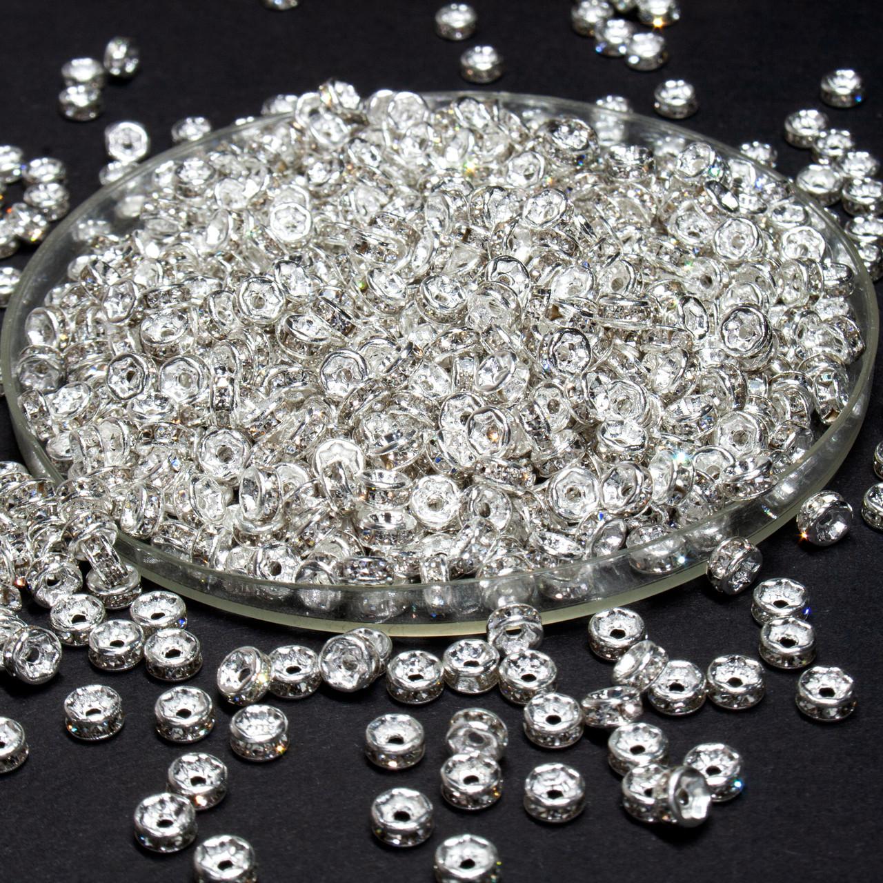 (45-50 штук) Бусины разделители со стразами. D-4мм Цвет серебро + стразы прозрачные