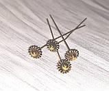 Пины гвоздики с фигурной головкой 5 см золото античное №6 бижутерные, фото 2
