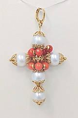 Кулон із золота з перлами і коралами