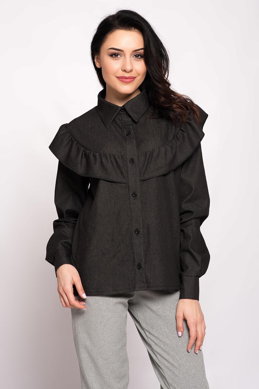 Чёрная джинсовая рубашка LOTTI с воланом и широкими рукавами на манжетах