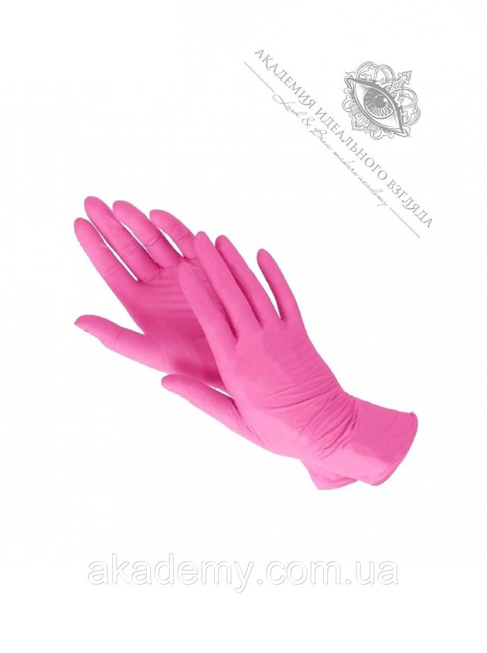 Перчатки нитриловые розовые (без пудры) 100 шт