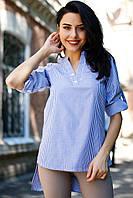 Синяя полосатая рубашка TORRI прямого кроя с удлинённой спинкой, фото 1