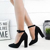 Туфлі Sophia чорні жіночі замшеві з ремінцем на щиколотці ac052b0115054