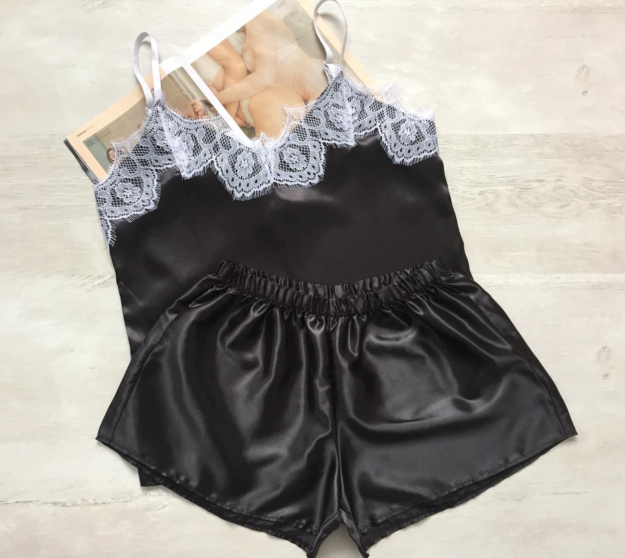 Пижама женская атласная майка и шорты 016 черный с белым