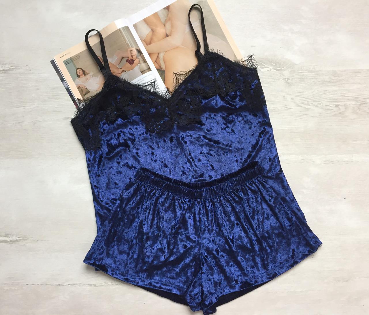 Женская бахатная пижама майка и шорты темно-синяя