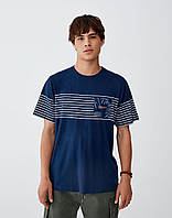 Мужская футболка Pull and Bear - Темно синяя с принтом и карманом на груди (чоловіча футболка)