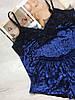Женская бахатная пижама майка и шорты темно-синяя, фото 2