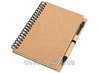 Эко-блокнот с ручкой 7535-0207 А5, на спирали сбоку, обложка биоматериал